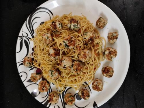 Desi Meatball Spaghetti