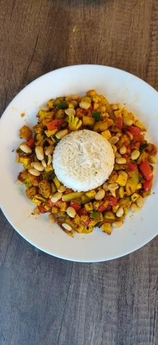 saute veggies with rice