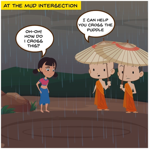 The story of the Muddy Road and Two Monks