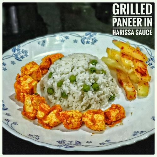 Simple Grilled Paneer Harissa Sauce