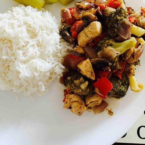 No sauce stir fry chicken with veggies