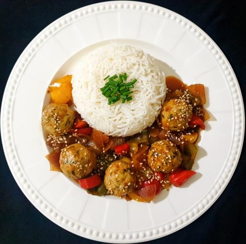 Chicken meat balls in stir fried veggies and Rice