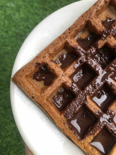 Waffle with melted chocolate