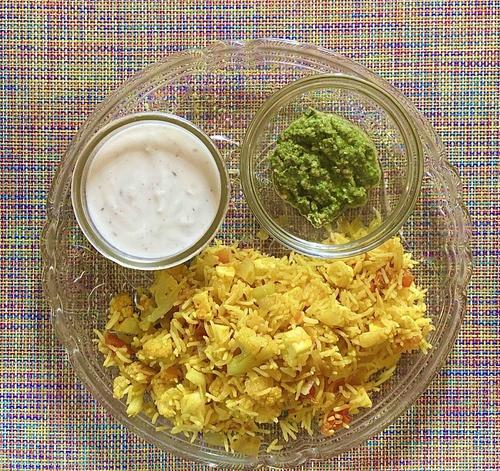 Gobhi Paneer Pulao with mint chutney and jeeta raita