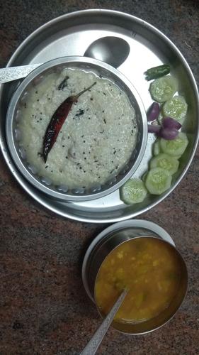 Curd Rice, Sambhar and Salad