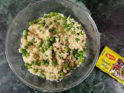Spiced green peas curd rice