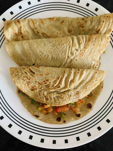 Daal and semolina dosa with stuffed veggies