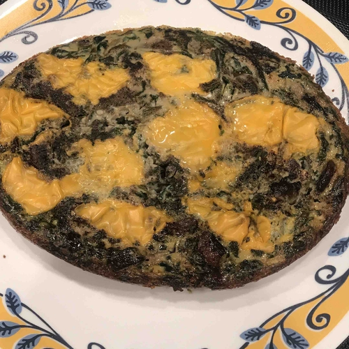Quiche style spinach & mushroom omelette (2 portions)