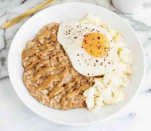 Sweet + Savoury Egg & Oatmeal Combo Bowl