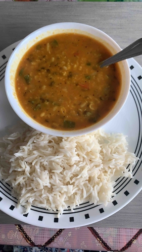 Mix vegetable daal fry and rice