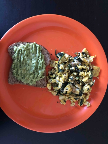 Scrambled eggs with Spinach + Avocado Toast