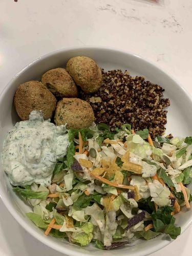 Mediterranean quinoa bowl with falafel, tzatziki