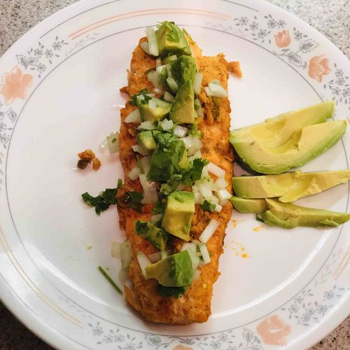 Grilled Salmon with Avocado lime salsa