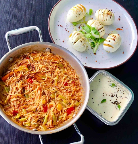 hassle back eggs and tomato vermicelli