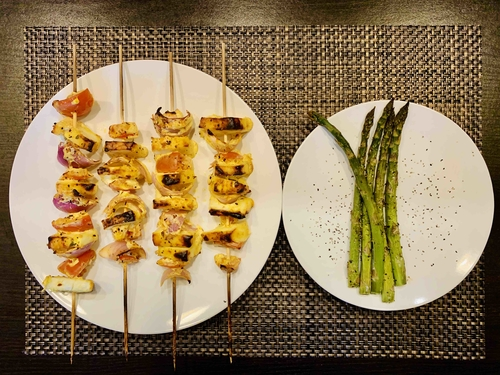 bbq paneer skewer with roasted Asparagus