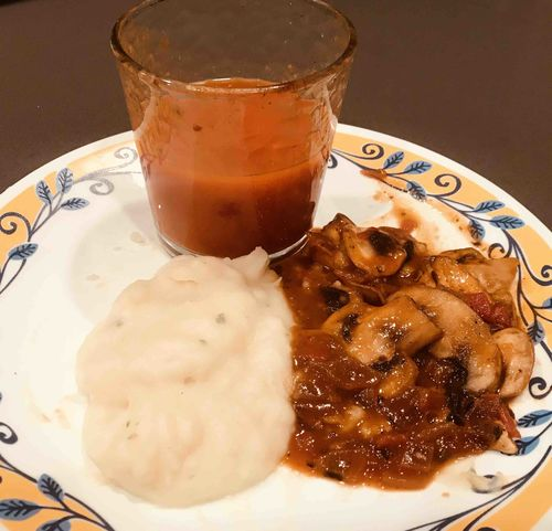 Mushroom masala with potato mash and tomato soup