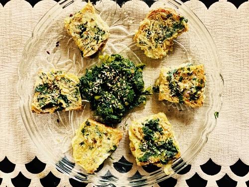 Indian spinach bruschetta