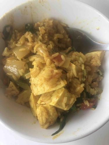 Indian style tofu fried rice