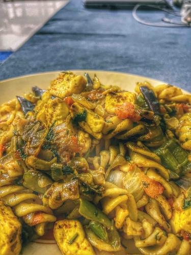 Spicy paneer pasta!!