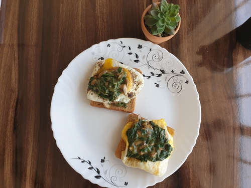 Egg on Spinach bed
