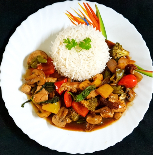Stir fry Chicken and Veggies & Steamed Rice