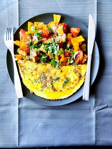 Omelette with Tava Paneer Tikka