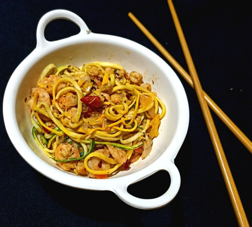 Zoodles in pink sauce with shrimps