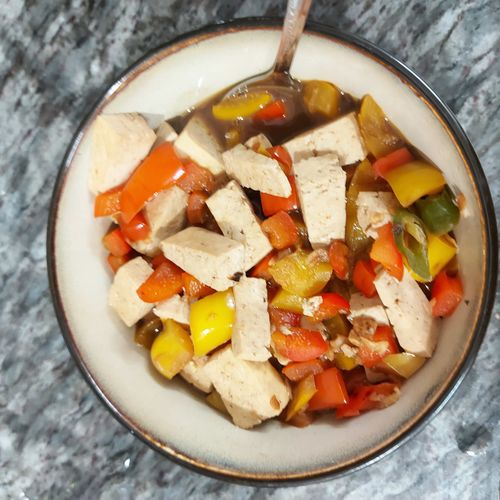 Tofu pepper stir fry