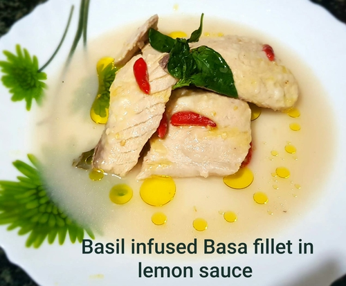 Basil infused Basa fillet in lemon sauce