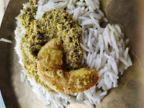 Steamed mustard prawn