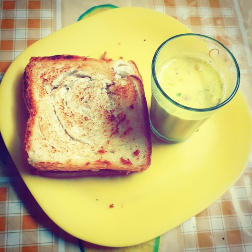 Kesar milk and butter bread  (late night shenanigans)