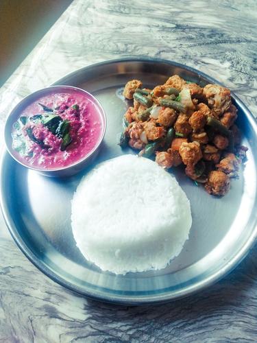 Beetroot pachadi ,soya chunks Sabji and rice
