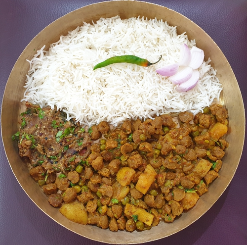 Soya Chunks-Potato Curry & Rice