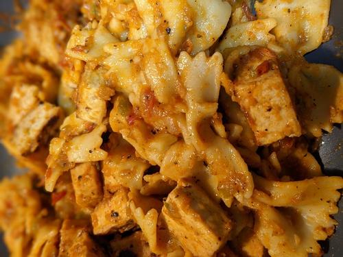 Tofu farfalle pasta