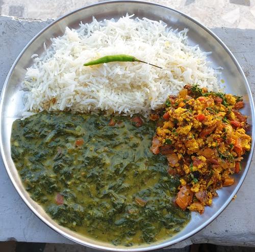 Palak Dhabdi,Paneer Bhurji & Rice