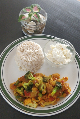 Brown Rice with Fresh homemade Paneer and stir fry veggies