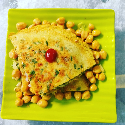 Egg Chila with chick peas