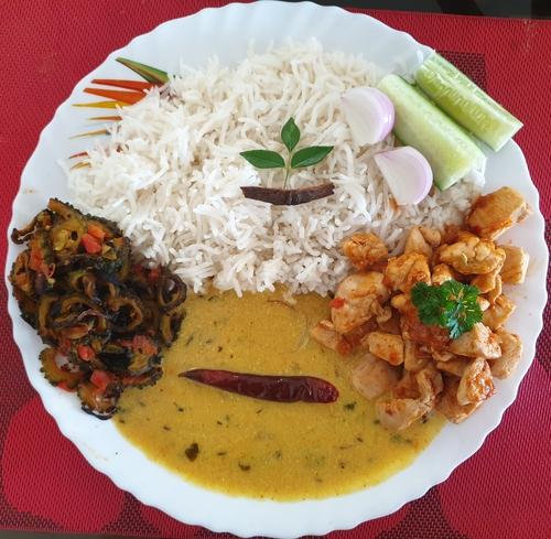 Kadi Chawal,Piri Piri chicken & Karela